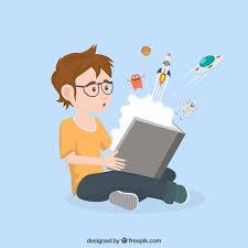 boy reading a e story premium vector