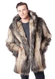 men s pieced fox hooded faux fur jacket