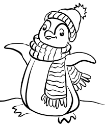 Small Picture Penguin Wear A Scarf Coloring Page Penguin Coloring Pages