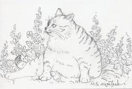 座る猫の絵水彩画 油絵画家永月水人のart life