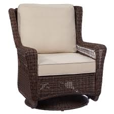 hampton bay park meadows brown swivel rocking wicker outdoor lounge chair with beige cushion