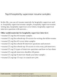 Hospitality Resume Sample New Top 48 Hospitality Supervisor Resume Samples