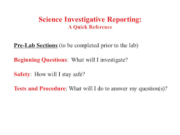 Science Report Format The Science Writing Heuristic Lab Report Format Science