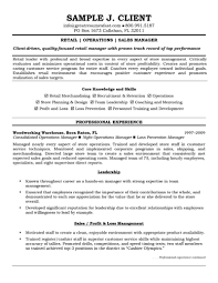 Resume Templates For Retail Management Positions