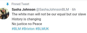 """N.F. Singh ✪ on Twitter: """"Sasha Johnson is the leader of #BLM Oxford.  Imagine the media coverage if any group said this of """"the black man""""… """""""