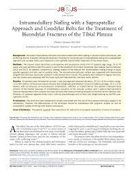 pdf intramedullary nailing with a suprapatellar approach and condylar bolts for the treatment of bicondylar fractures of the tibial plateau