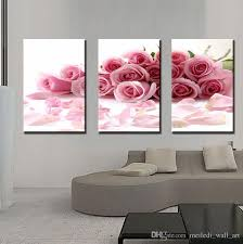three panle modern wall painting pink rose canvas wall art picture home decor beautiful flowers create romantic for bedroom hot flower paintings
