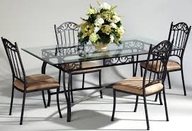 Metal Glass Dining Table Chintaly 0710 Dt 5pcs Rectangular Dining Table 0710 Sc Side Chair Set
