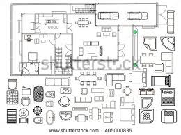floor plan with furniture. architecture plan with furniture in top view floor u