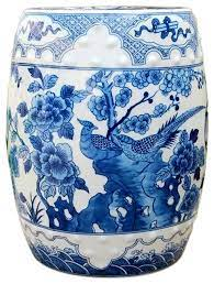 white porcelain garden stool bird motif