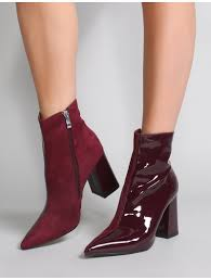 chaos contrast pointed toe ankle boots in burdy patent and faux suede