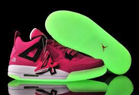 air jordan shoes for girls black. girls jordan 4 vivid pink/black-white glow-in-the-dark sole air shoes for black