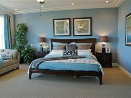 blue bedrooms. Exciting Blue Traditional Bedrooms Decor Ideas Feat Black Wooden Bed Frame Also Grey Sectional Sofa Plus Indoor Plants Decoration