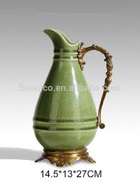 Decorative Water Pitcher Ornamental Porcelain Bronze Water Pitcher With HandleHand Painted 15