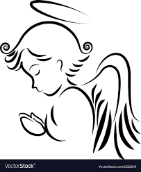 Angel praying logo Royalty Free Vector Image - VectorStock