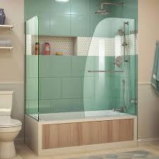 dreamline aqua uno 60 in x 58 in semi frameless hinged tub