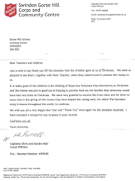 salvation army receipt salvation army thank you letter gorse hill school