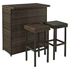 Palm Harbor 3 Piece Wicker Patio Bar Furniture Set Tar