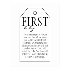 baby postcard gift tag for wine bottle first baby postcard zazzle com au