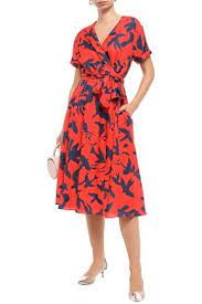 Etre Cecile Bird Jacques Printed Cotton And Silk-blend Twill Wrap Dress In  Red | ModeSens