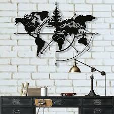 metal world map wall art mountain