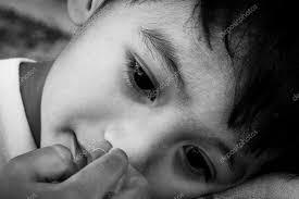 face cute little boy sad alone black and white tone stock photo