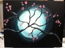 took a class with my girlfriend at painting with a twist cherry blossom tree first painting in 10 years
