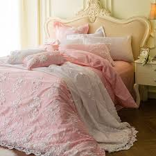 light pink and white vintage fl shabby chic victorian lace elegant girls full queen size bedding sets