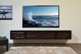 ... Enchanting Black Wooden Floating Media Shelves With Storage And Double  Cabinet On Grey Wall With Floating ...