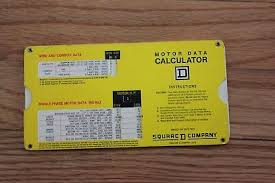 Vintage Square D Company Motor Data Calculator Slide Chart