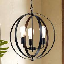 black orb chandelier antique black 3 light concentric mixed iron rings orb chandelier black crystal orb