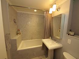 Contemporary Full Bathroom With Concrete Tile  Wall Sconce In New - Crown molding for bathroom