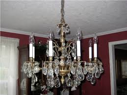 antique brass and crystal chandelier with shade