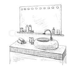 Bathroom interior sketch. Hand drawn washbasin, mirror and tap ...