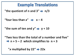learn to translate algebraic expressions into words common