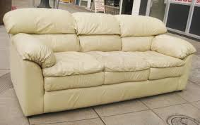 beige leather sofa. SOLD - Beige Leather Sofa $125 A