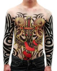 Unisex Full Body Tattoo Shirt Demon Sword And Skulls