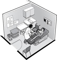 simple small space doctor office. perfect space illustration showing doctor in exam room with woman lying on table a  wheelchair is inside simple small space doctor office