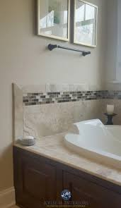 Sherwin Williams Kilim Beige In A Bathroom With Beige Toned Tile And Soaker  Tub With Dark Wood Surround. Kylie M Interiors E Design