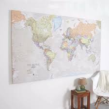 huge classic world map (canvas)