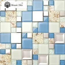 TST Glass Metal Tile Blue White Conch Steel Mosaic Bath Background Cool Resin Backsplash Ideas