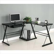 l shaped glass computer desk image of design corner