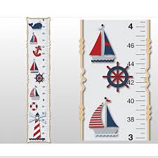 growth chart nautical ocean boat whale anchor wall decals vinyl sticker red white blue kid height measurement children nursery baby room decor boys bedroom