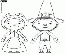 Kleurplaat Pilgrims De Man En De Vrouw Kleurplaten