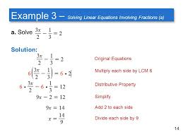 example 3 solving linear equations involving fractions a