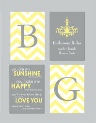 chevron bathroom set wall decor yellow and grey art you are my sunshine of four gray