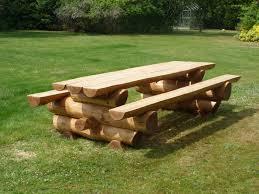 solid western red cedar log picnic table