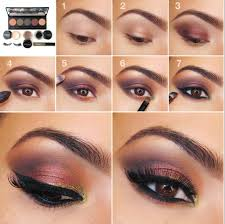 easy step by step eye makeup tutorial gold to purple smokey eye