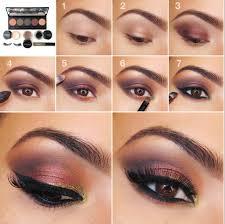 easy step by step eye makeup tutorial gold to purple smokey eye