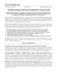 Logistics Operations Manager Resume Operations Logistics Project